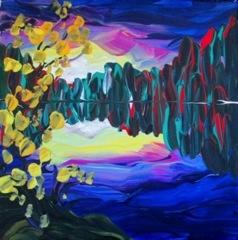 "Rare Earth Gallery Purple Sunset (Original Acrylic, 8"" SQ)"