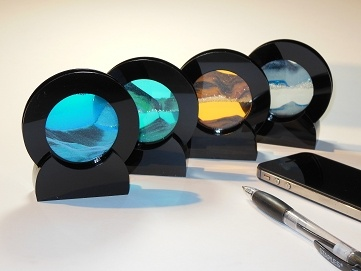 """Rare Earth Gallery SUMMER TURQUOISE (Rd 4""""D, Black Plastic)"""