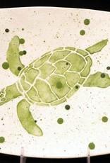 """Rare Earth Gallery Plate, Sea Turtle (Green, 8.5"""" Sq)"""