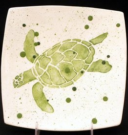 "Rare Earth Gallery Plate, Sea Turtle (Green, 8.5"" Sq)"