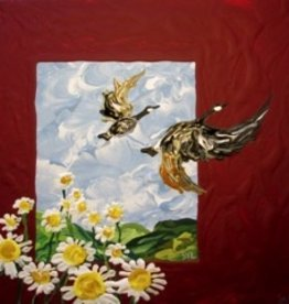 "Rare Earth Gallery Geese Flying (Original Acrylic, 4"" SQ)"