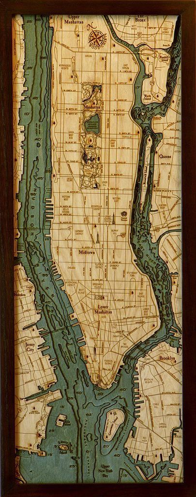 Rare Earth Gallery Manhattan (Bathymetric 3-D Wood Carved Nautical Chart)