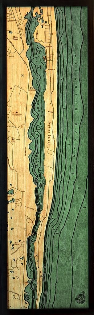 Rare Earth Gallery Jupiter island (Bathymetric 3-D Wood Carved Nautical Chart)