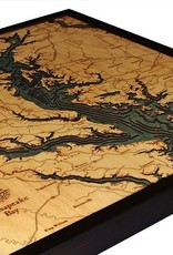 Rare Earth Gallery Chesapeake Bay (Bathymetric 3-D Wood Carved Nautical Chart)