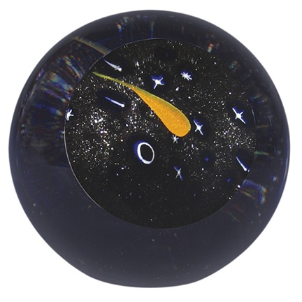"Rare Earth Gallery Paperweight, Shooting Star (Celestial, 3""D, Light Base, Velvet Box)"