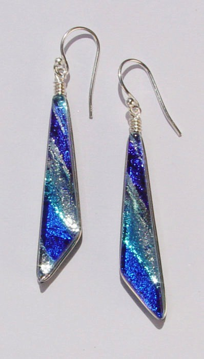 Rare Earth Gallery Earrings, Comet (Dichroic Art Glass, Assorted Colors, #260)