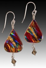 Rare Earth Gallery Earrings, Lotus w/Crystal (Dichroic Art Glass, Assorted Colors, #280)