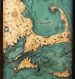 Rare Earth Gallery Cape Cod (Lg, Bathymetric 3-D Wood Carved Nautical Chart)