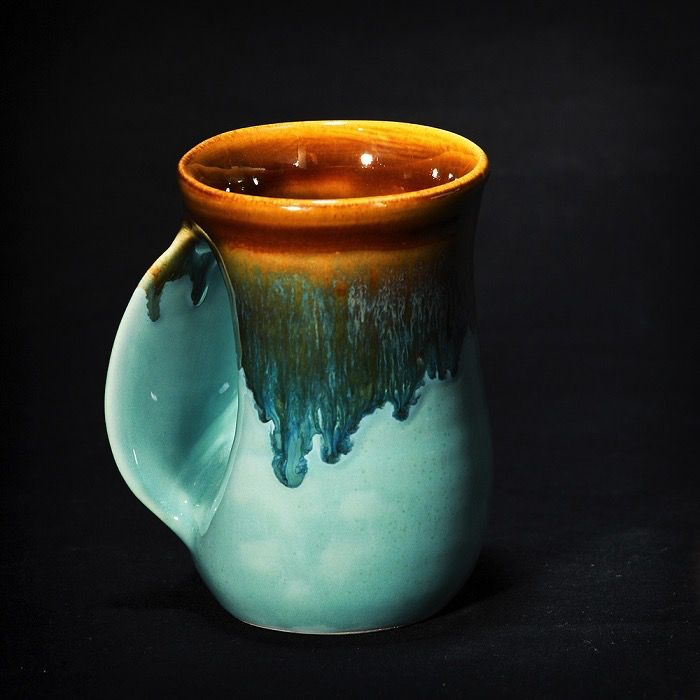 Rare Earth Gallery Mug, Handwarmer, LEFT HANDED (Approx 14 oz)