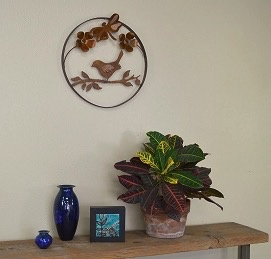 Rare Earth Gallery Bird on Branch w/Dragonfly/Flowers (Metal Wall Sculpture #1815)