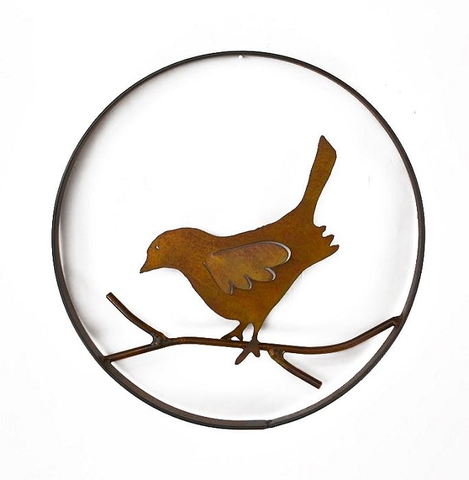 Rare Earth Gallery Bird on a Branch (Metal Wall Sculpture #1209)