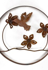 Rare Earth Gallery Flowers and Hummingbird (Metal Wall Sculpture #1816)