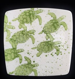 "Rare Earth Gallery Plate, Sea Turtle Babies (Green,  8.5"" Sq)"