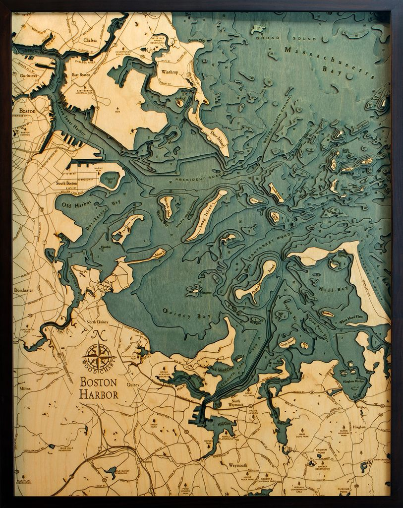 Rare Earth Gallery Boston Harbor (Bathymetric 3-D Wood Carved Nautical Chart)