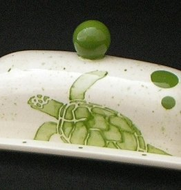 "Rare Earth Gallery Butter Dish, Sea Turtle (Lid w/Knob, Single, 8"" x 3.5"")"