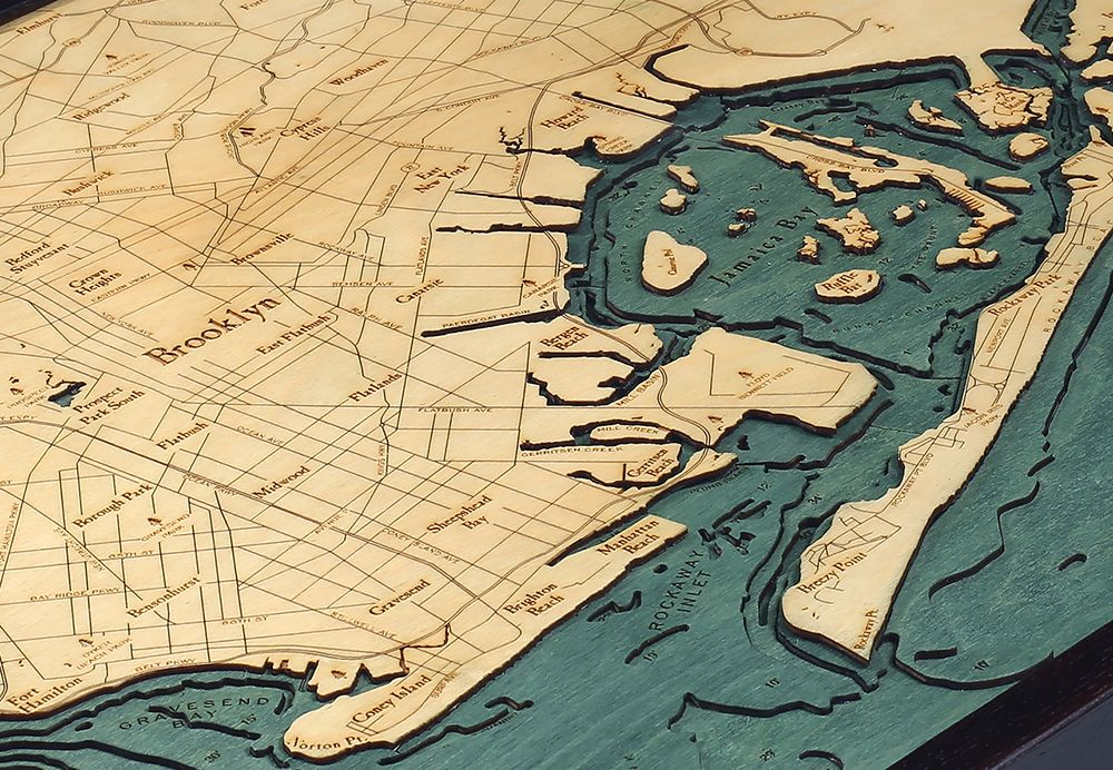 Rare Earth Gallery Brooklyn (Bathymetric 3-D Wood Carved Nautical Chart)
