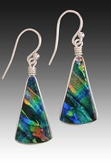 Rare Earth Gallery Earrings, Fan (Sm, Dichroic Art Glass, Assorted Colors, #205)