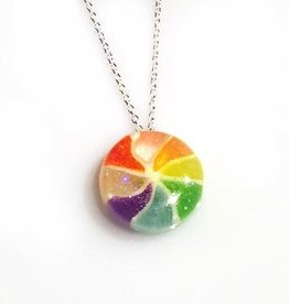 Rare Earth Gallery Glitter Necklace, Japanese Pinwheel Candy
