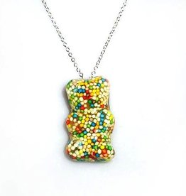 Rare Earth Gallery Glitter Necklace, Gummy Bear (Rainbow)