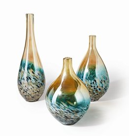Rare Earth Gallery Vase, Sunset (Lg, Teardrop, Turquoise and Amber)