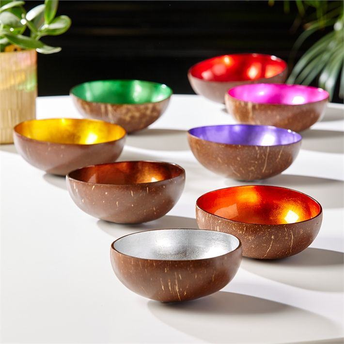 Rare Earth Gallery Bowl (Lacquered Coconut, Shimmering Foil, Dry Food Use Only)