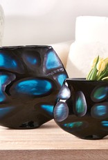 Rare Earth Gallery Vase, Blues Windows (Lg, Hand-Etched Glass)