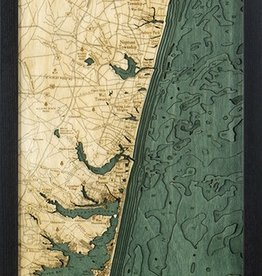 Rare Earth Gallery North Shore, NJ (Bathymetric 3-D Wood Carved Nautical Chart)