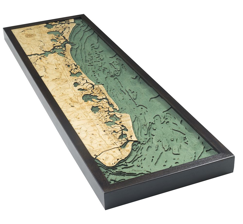 Rare Earth Gallery South Shore, NJ (Bathymetric 3-D Wood Carved Nautical Chart)