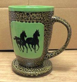 Rare Earth Gallery Mug (w/Lid-Coaster) Horse, Double