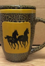 Rare Earth Gallery Mug (w/Lid-Coaster) Horse, Double