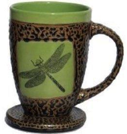 Rare Earth Gallery Mug (w/Lid-Coaster) Dragonfly