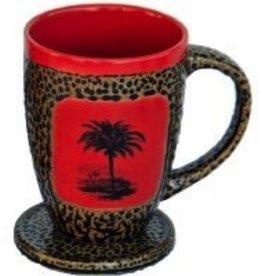 Rare Earth Gallery Mug (w/Lid-Coaster) Palm Tree