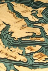 Rare Earth Gallery Puget Sound (Bathymetric 3-D Wood Carved Nautical Chart)
