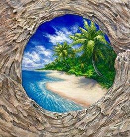 Carol Merritt Island In The Sun (Original Acrylic, Signed, Approx 20x20)