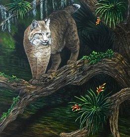 Carol Merritt Bobcat Approaching (Original Acrylic, Signed, Approx 30x40)