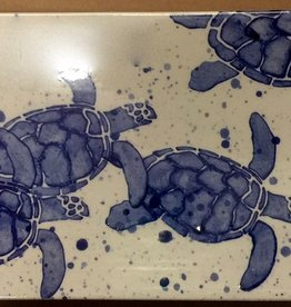 "Rare Earth Gallery Platter, Sea Turtle Babies (Blue, Md, 15.5"" x 5.25"")"