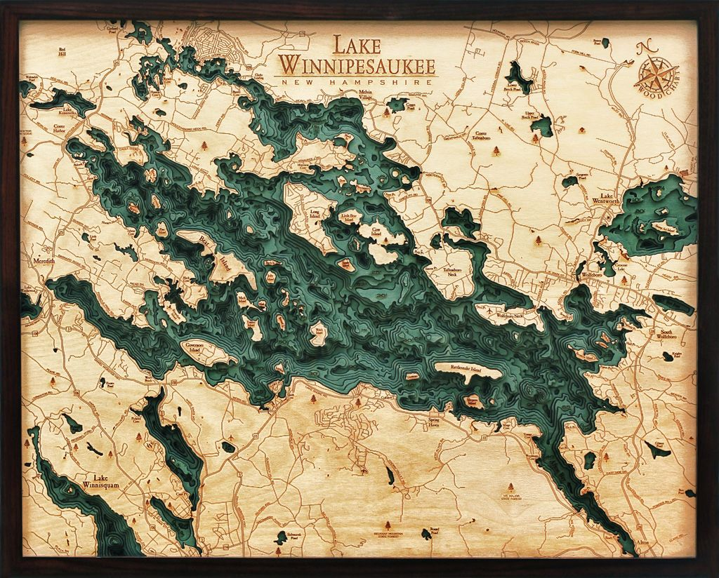 Rare Earth Gallery Lake Winnipesauke (Bathymetric 3-D Wood Carved Nautical Chart)