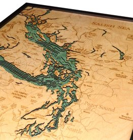 Rare Earth Gallery Sailish Sea (Bathymetric 3-D Wood Carved Nautical Chart)