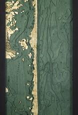 Rare Earth Gallery Long Beach Island, NJ (Bathymetric 3-D Wood Carved Nautical Chart)