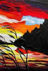 "Rare Earth Gallery Sunset II (Original Acrylic, 4"" SQ)"