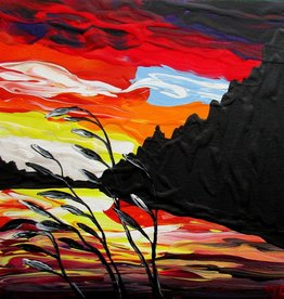 "Rare Earth Gallery Sunset II (Original Acrylic, 4"" SQ)"