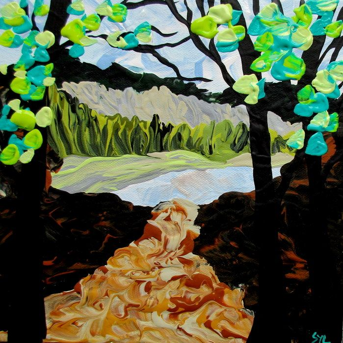"Rare Earth Gallery Creek is Open (Original Acrylic, 4"" SQ)"