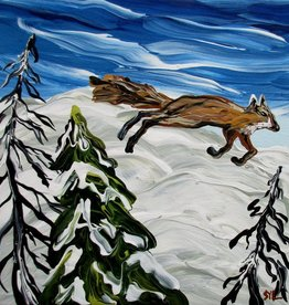 "Rare Earth Gallery Fox on the Run (Original Acrylic, 4"" SQ)"
