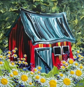 "Rare Earth Gallery The Red Barn (Original Acrylic, 4"" SQ)"