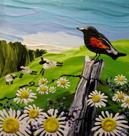 "Rare Earth Gallery Red-Winged Blackbird (Original Acrylic, 4"" SQ)"