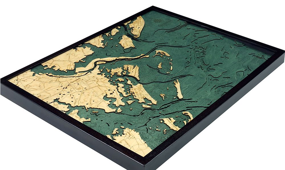 Rare Earth Gallery Savannah, GA (Bathymetric 3-D Wood Carved Nautical Chart)