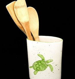 "Rare Earth Gallery Utensil Holder/Vase, Sea Turtle (Green,  5.5""W x 6.75""H)"