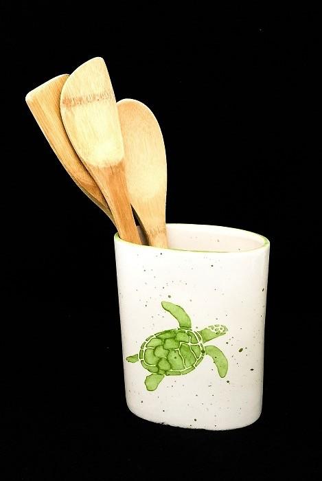 "Rare Earth Gallery Utensil Holder/Vase, Sea Turtle (Green,  5.5""W x 6.75""H)"