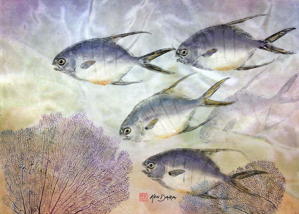 Ken Dara Longfin Pompano (Gyotaku Giclee, Framed, Signed)