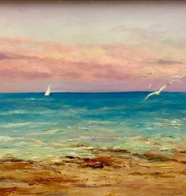 "Carolyn Sadowski Hutchinson Island Sunset (Original Oil, Framed, Signed, 18"" x 24"")"